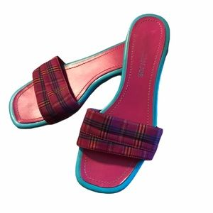 "Caribbean Joe ""Halston"" Sandals 7.5 Pink & Blue"